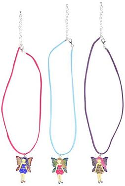 Rhode Island Novelty 12 Girls Necklaces with Fairy Pink Purp