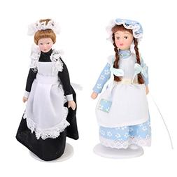MonkeyJack 2 Sets Porcelain Dolls for 1/12 Doll House Victor