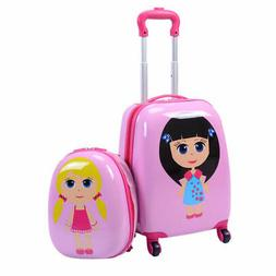 "2Pc 12"" 16"" Kids Girls Luggage Set Suitcase Backpack School"