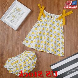 2pcs Baby Girls Clothing Outfits Sets Print Tops Dress Pants