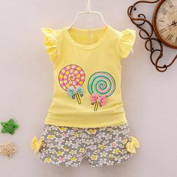 2PCS Toddler Kids Baby Girls Outfits Lolly T-shirt Tops+Shor
