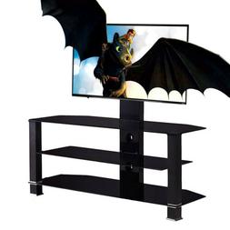 "32""-55"" Glass Black Cantilever Tempered TV Stand with Bracke"
