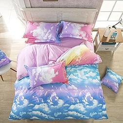 LemonTree 3D Girls Comfortable Rainbow Sky Clouds Printing B