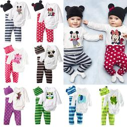 3Pcs/Set Newborn Baby Boys Girls Kids Romper Hat Pants Bodys