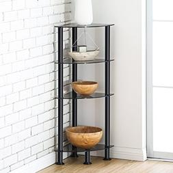 FITUEYES 4-Tier Corner Shelf Bookcase Black Tempered Glass D