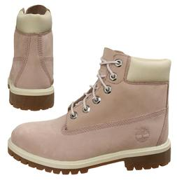 Timberland 6 Inch Juniors Kids Girls Pink Leather Lace Up Bo