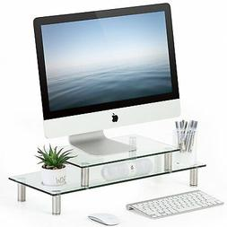 FITUEYES Clear Tempered Glass Computer Monitor Riser with He