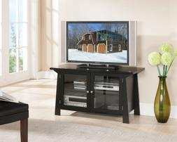 King's Brand Black Finish Wood TV Stand Entertainment Center
