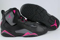 NIKE AIR JORDAN TRUE FLIGHT BLACK/GRAY/PINK GIRLS KIDS RETRO