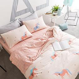 HIGHBUY Unicorn Print Cotton Twin Duvet Cover Set Pink for K