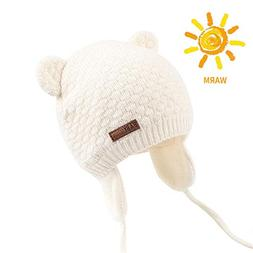 BAVST Baby Beanie Hat for Winter with Earfalp Cute Bear Kids
