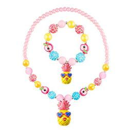 Skywisewin Beautiful Bubblegum Chunky Bead Necklace and Brac