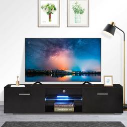 "63"" Modern TV Stand LED Shelves With 2 Drawers Console Displ"