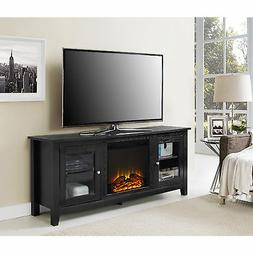 """W. Designs 58"""" Black Wood Fireplace TV Stand with Doors"""