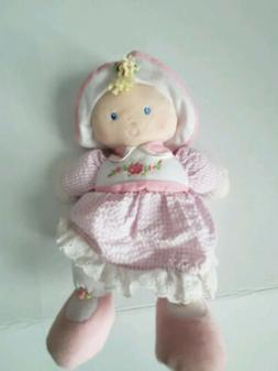 Kids Preferred Blonde Baby Girl Plush Doll in Pink Flower Ou