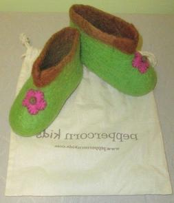 Peppercorn Kids Boutique Wool Slippers Girls Green 5-6 Toddl