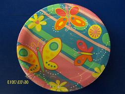 "Bright Butterflies Striped Girls Kids Birthday Party 7"" Pape"