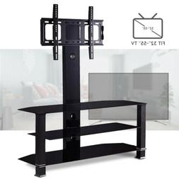 "Cantilever Tempered Glass Black TV Stand w/Bracket for 32""-5"