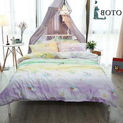 ORoa New Cartoon Unicorn Twin Cute Duvet Cover Set for Kids