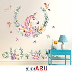Fairy Unicorn Wall Stickers Decal Flower Removal Girls Kids