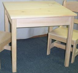 CHILD'S TABLE -only- NO CHAIRS, SQUARE TOP UNFINISHED PINE W