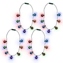 LED Christmas Holiday Jingle Bell Necklace for Kids and Adul