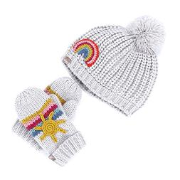 Chunky Rib Rainbow Beanie and Mitten Set  - Heather Grey - X
