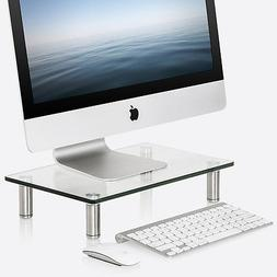 Clear Computer Desktop Monitor Stand Glass Laptop TV Display