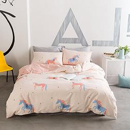 BuLuTu Unicorn Pattern 100% Cotton Kids Duvet Cover Sets Twi