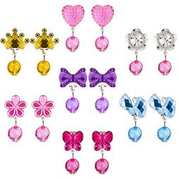 Hicarer 7 Pairs Crystal Clip on Earrings Girls Princess Jewe