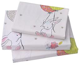 J-pinno Cute Cartoon Rabbit Bunny Twin Sheet Set for Kids Gi