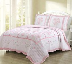 Cozy Line Home Fashions Daisy Field Bedding Quilt Set, Pink