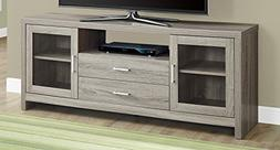 Monarch Specialties Dark Taupe Drawers Glass Doors TV Stand