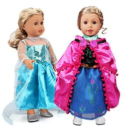 18 Inch Doll Clothes 2 Set Frozen Princess Dress Ball Gowns
