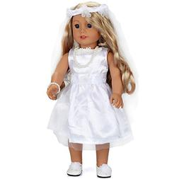 18 Inch Doll Clothes Wedding Dress White Communion Dress wit