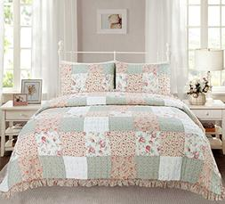 Cozy Line Home Fashions Dreamy Rose Bedding Quilt Set, Coral