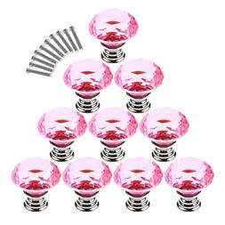 Haoun 10 Pcs Dresser Knobs, Crystal Glass Cabinet Knobs 30mm