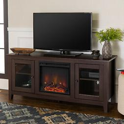 Driftwood TV Stand With Fireplace Insert Wood Stand for TV u