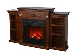 3G Plus Electric Fireplace TV Stand Convertible Bookcases wi
