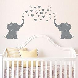 Elephant Family Wall Decal With Hearts Music Quote Art Baby