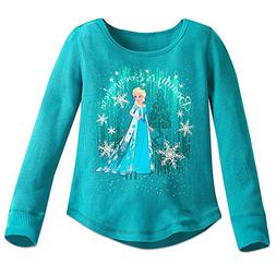 Disney Elsa Thermal Tee for Girls Size 9/10 Green