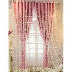 Didihou Embroidered Voile Mix Match Blackout Curtain Double