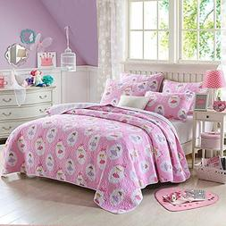 Cozy Line Fairy Princess Ballerina Pink Quilt Girls Twin Bed