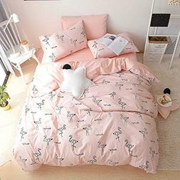 BuLuTu 100% Cotton Flamingo Girls Bedding Duvet Cover Set Qu