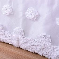Flat Tulle Crib Skirt with Embroideried Rose for Baby Girls
