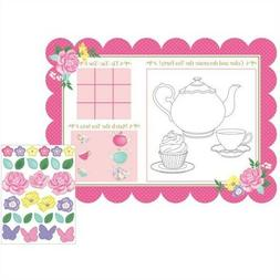 Floral Tea Party Kid's Activity Placemats 8 Pack Favors Girl