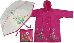 Flower Print Clear Umbrella + Raincoat Set - RainStoppers Ch