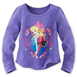 Disney Frozen Little Girls Long Sleeve Thermal Tee- Purple