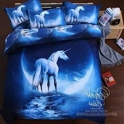 Sandyshow Galaxy Unicorn 2PC Duvet Cover Sets Pegasus Out Sp