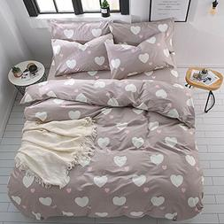 BuLuTu Girls Bedding Duvet Cover Sets Queen Cotton Love Prin